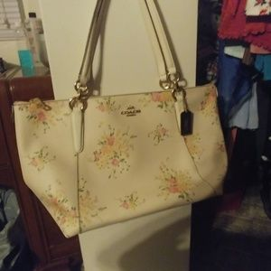 Large floral coach tote